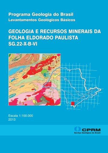 geologia e recursos minerais da folha eldorado paulista sg ... - CPRM