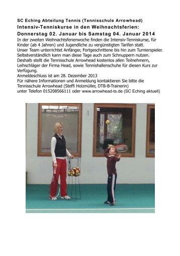 Intensiv-Tenniskurse in den Weihnachtsferien - TENNISSCHULE ...