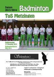 Tus-Metzinger Saisonheft 13/14 - Badminton in Metzingen