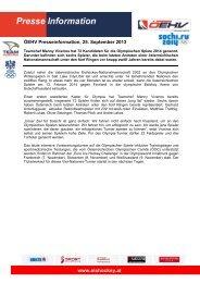 250913, Olympia, Viveiros nominiert erweiterten Kader