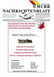 Nachrichtenblatt Nr. 24 vom 14. Juni 2013 - Gemeinde Murr