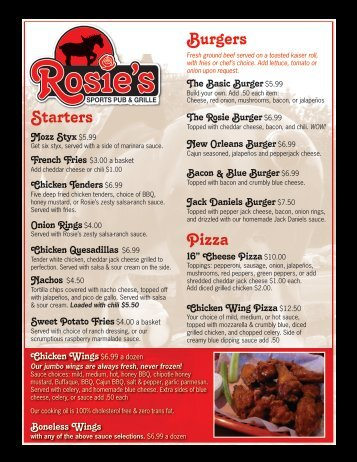 We Feature - Rosies Sports Pub & Grille