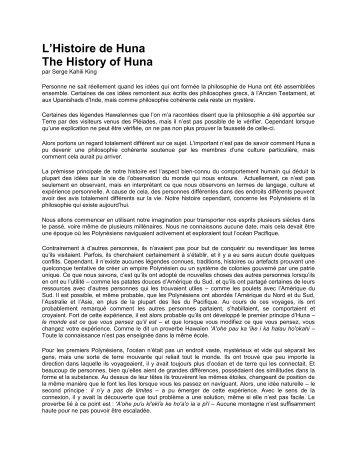 L'Histoire de Huna The History of Huna - Huna.org