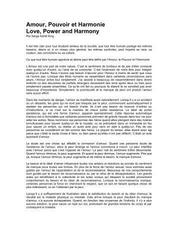 Amour, Pouvoir et Harmonie Love, Power and Harmony - Huna.org