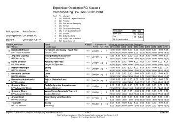 Ergebnisse Obedience FCI Klasse 1 ... - HSZ St.Wendel