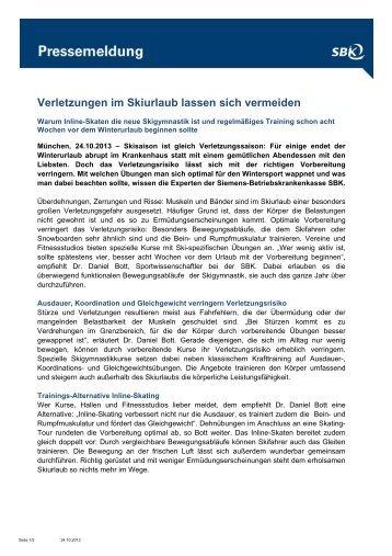 Verletzungen im Skiurlaub lassen sich vermeiden - SBK