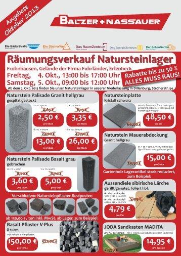 Räumungsverkauf Natursteinlager - BALZER + NASSAUER