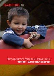 Rechenschaftsbericht Fachstelle und Förderverein 2012 - Caritas Bern