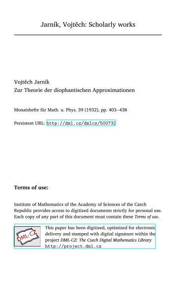 Jarník, Vojtěch: Scholarly works - Czech Digital Mathematics Library