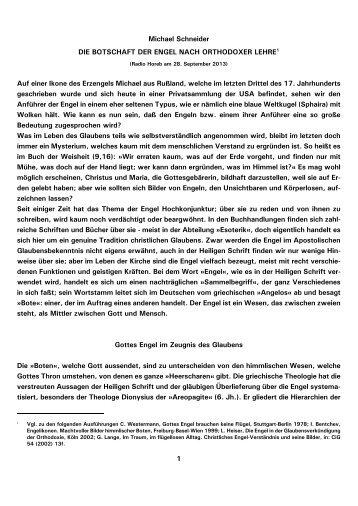1 Michael Schneider DIE BOTSCHAFT DER ENGEL ... - Kath.de
