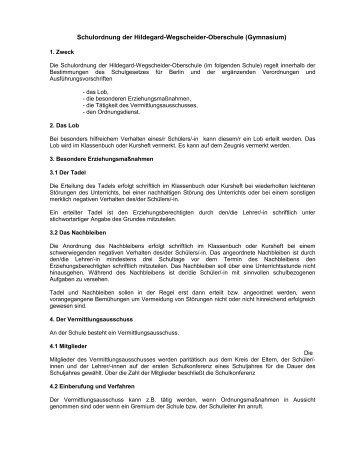 Schulordnung der Hildegard-Wegscheider-Oberschule