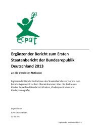 Ergänzender Bericht zum Ersten Staatenbericht der Bundesrepublik ...