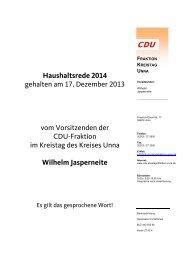 Haushaltsrede 2014 gehalten am 17. Dezember 2013 ... - Kreis Unna