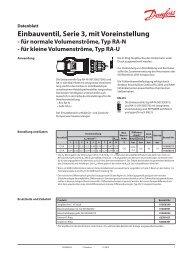Einbauventil, Serie 3, Typ 013G0372 & 013G0373 - Danfoss