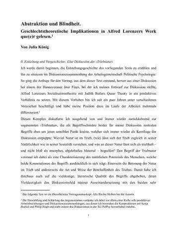 Julia König: Abstraktion und Blindheit. Geschlechtstheoretische ...