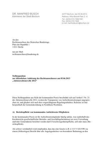 Stellungnahme Dr. Manfred Busch - Deutscher Bundestag