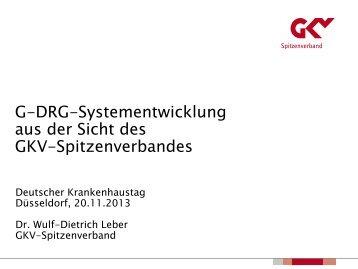 G-DRG-Systementwicklung aus der Sicht des GKV-Spitzenverbandes