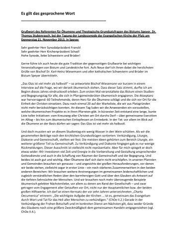 Grußwort des Ökumenereferenten des Bistums - Evangelische ...