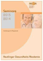 Fortbildungen für Pflegeberufe 2013/2014 - Reutlinger Gesundheits ...