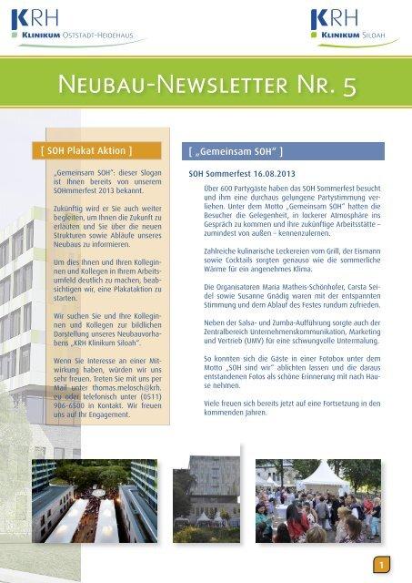 Neubau-Newsletter Nr. 5 - Klinikum Region Hannover GmbH