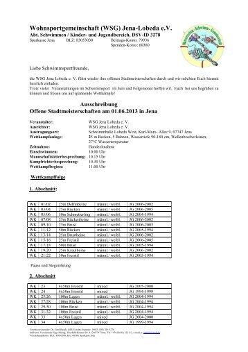 Wohnsportgemeinschaft (WSG) Jena-Lobeda e.V. - Schwimmen - DSV