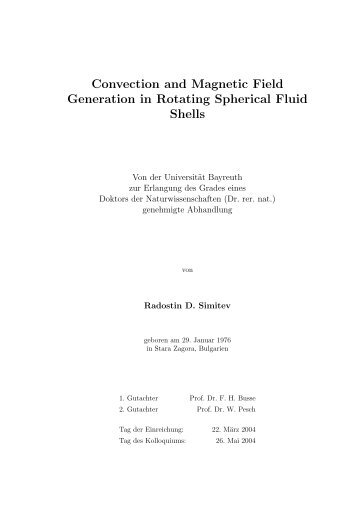 Convection and Magnetic Field Generation in ... - OPUS Bayreuth