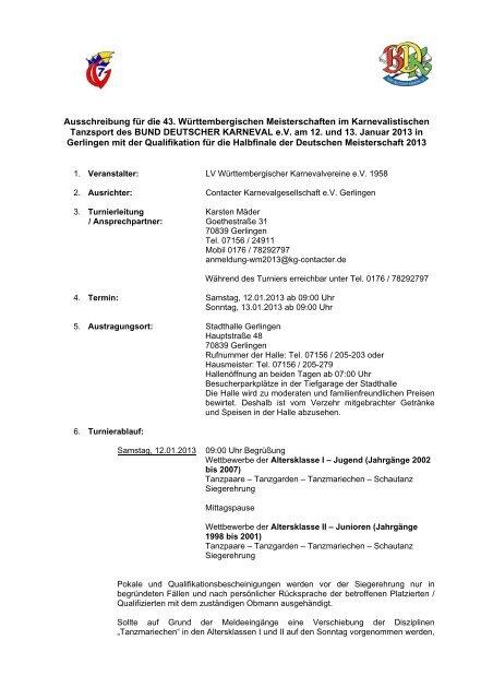 Ausschreibung - Contacter KG Gerlingen eV
