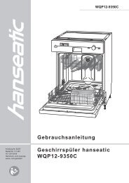 Gebrauchsanleitung Geschirrspüler hanseatic WQP12-9350C