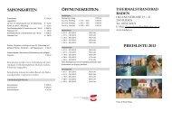 SAISONKARTEN ÖFFNUNGSZEITEN: PREISLISTE 2013 - Baden