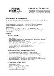 Öffentliche Ausschreibung nach VOB/A: Sport - Stadt Filderstadt