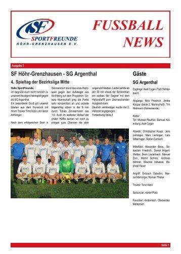SF H ¨ohr-Grenzhausen - SG Argenthal G¨aste - Heimspiel-Zeitung