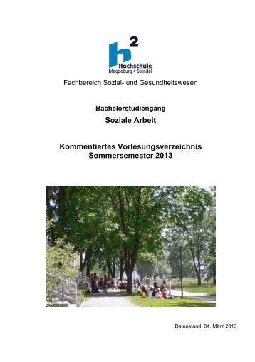 Kommentiertes Vorlesungsverzeichnis - Hochschule Magdeburg ...