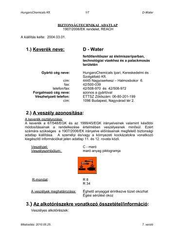 D - Water - Hungaro Chemicals Kft.