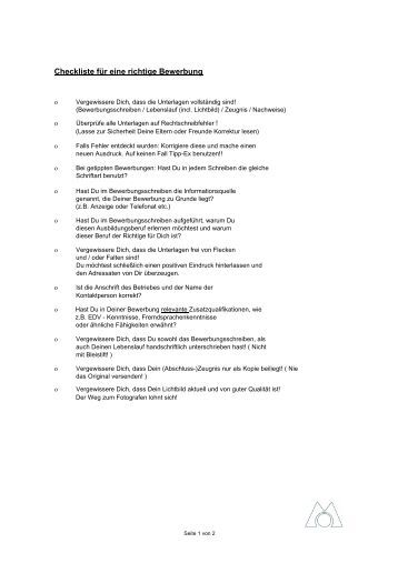 Checkliste Bewerbung - Eures