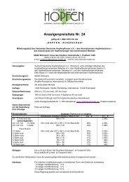 Anzeigenpreisliste Nr. 24 - Verband Deutscher Hopfenpflanzer e.V.