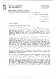 Letter from Berkshire CC to Hungerford Mayor summarising the dig