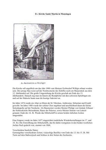 Ev. Kirche Sankt Martin in Monzingen Die Kirche soll angeblich um ...