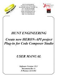New Project plug in User Manual - Hunt Engineering