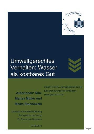 Wasser als wertvolles Gut - Bildungsserver Berlin - Brandenburg