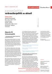Newsletter Verbraucherpolitik EU aktuell 15/2013 - vzbv