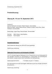 Protokollauszug Sitzung Nr. 10 vom 18. September 2013