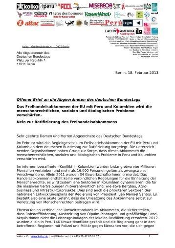 Berlin, 18. Februar 2013 Offener Brief an die Abgeordneten ... - FDCL