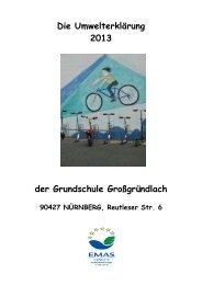 Umwelterklärung 2013 der Grundschule Gro0gründlach - EMAS