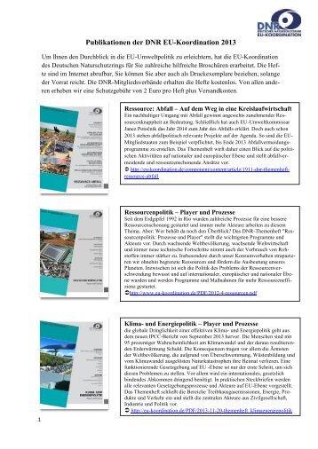 Publikationen der DNR EU-Koordination 2013