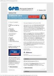 GPM Newsletter 10/2013 - GPM Deutsche Gesellschaft für ...