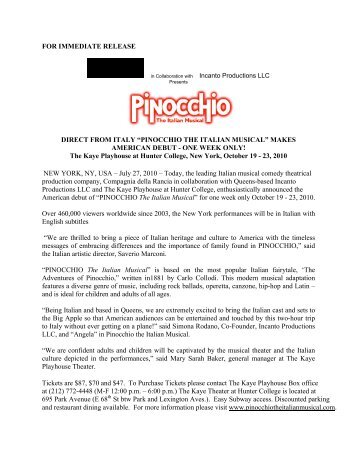 Pinocchio Press Release: July 29, 2010 - Hunter College - CUNY