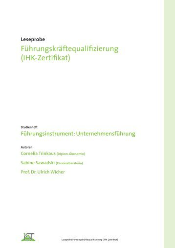 Führungskräftequalifizierung (IHK-Zertifikat) - IST-Studieninstitut