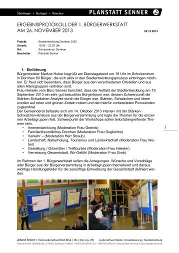 Protokoll der 1. Bürgerwerkstatt am 26.11.2013 - Stadt Dornhan