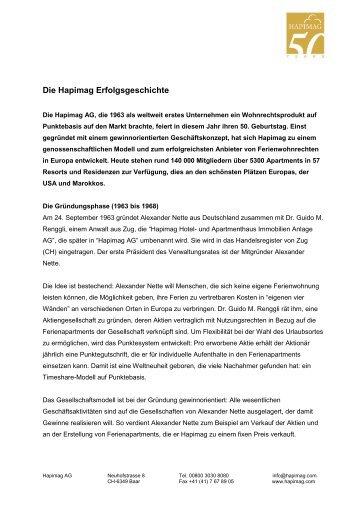 Die Hapimag Erfolgsgeschichte als PDF-Dokument