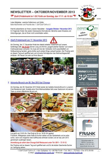 NEWSLETTER – OKTOBER/NOVEMBER 2013 - Golfclub Fürth